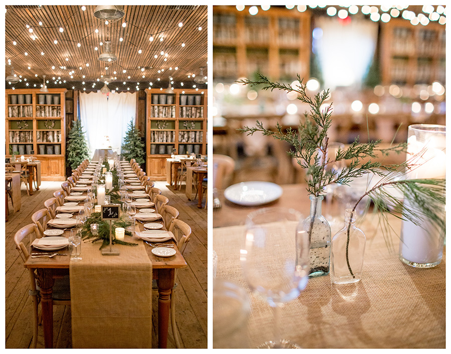 evergreen details at this winter wedding