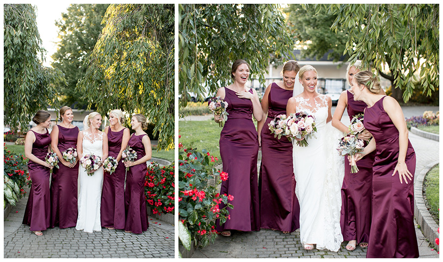 bride laughing and having fun with her bridesmaids at dupont country club