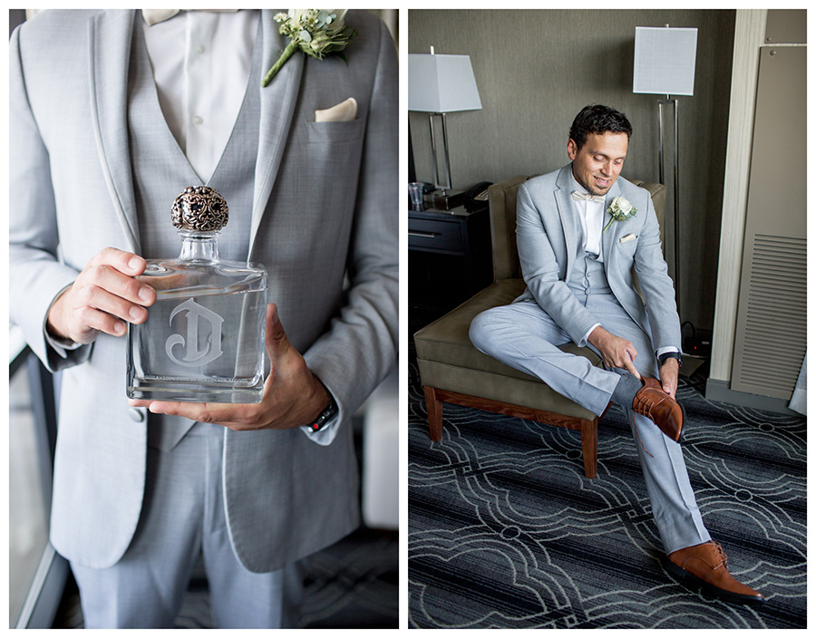 groom gets ready in his hotel room in riverside nj