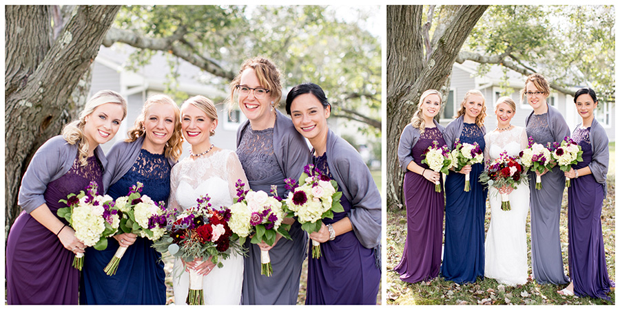 bridesmaids in jewel-toned dresses with the bride