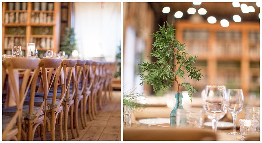 minimalist wedding centerpieces with evergreen sprigs