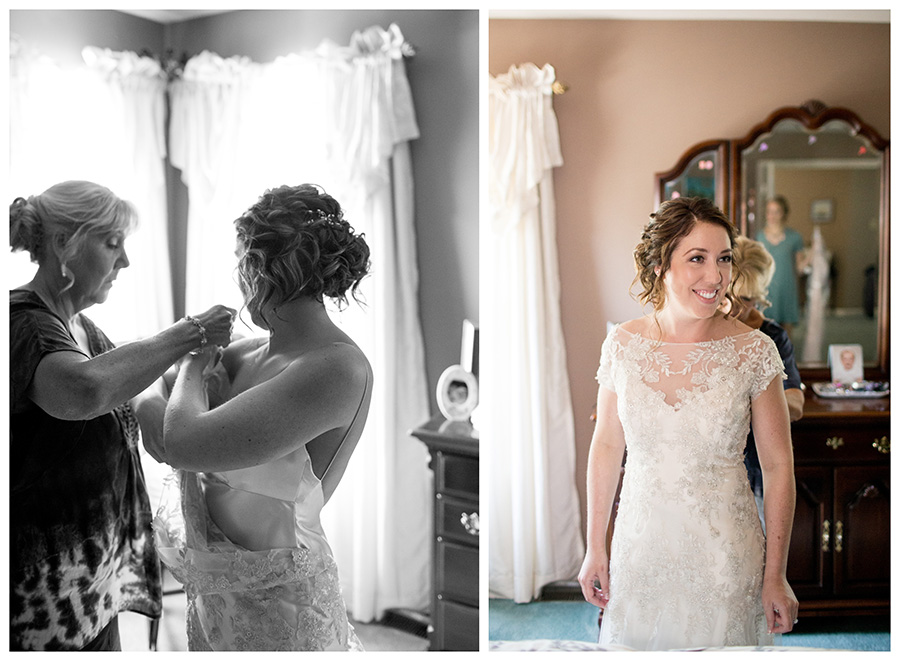 bride gets ready at her moms house
