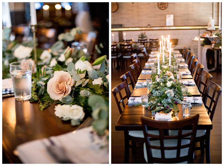 long tables with roses and greenery