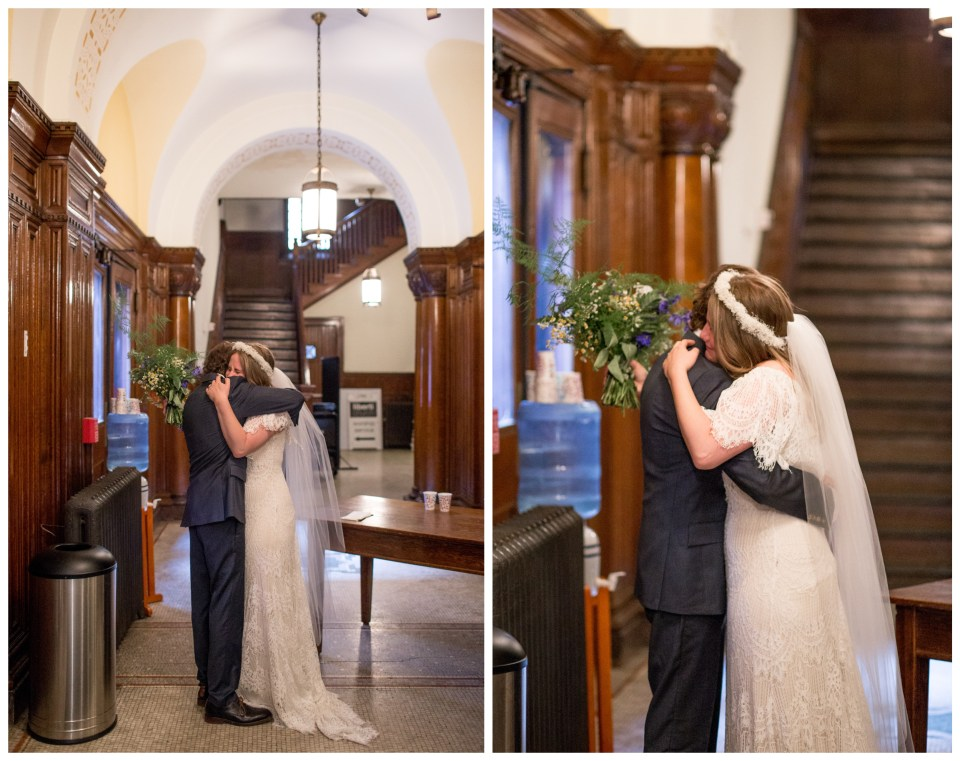 bride and groom share emotional moment after ceremony at liberti church