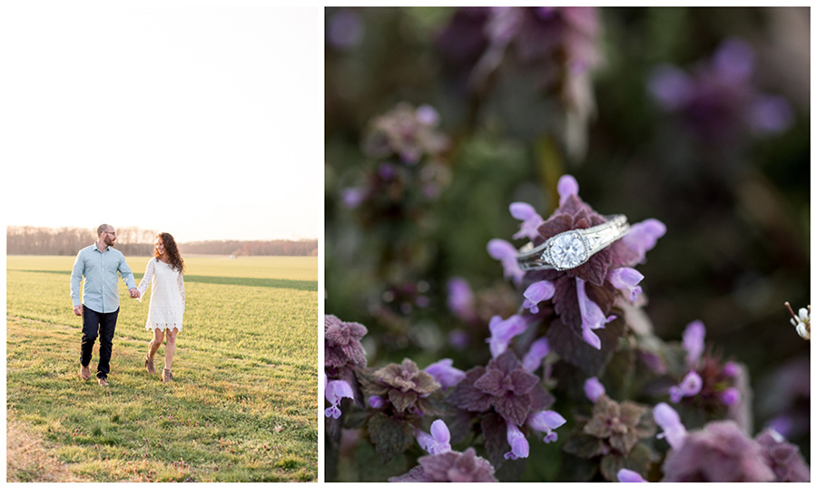 vintage wedding ring and couple walking through farm field