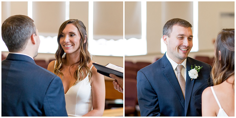 bride and groom say their wedding vows