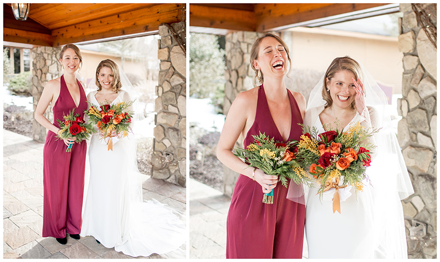 bride with maid of honor wearing bridesmaid jumpsuit
