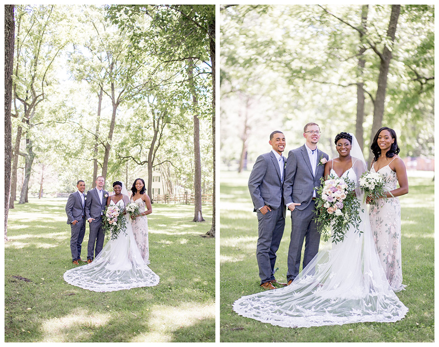 wedding party portraits at allaire state park