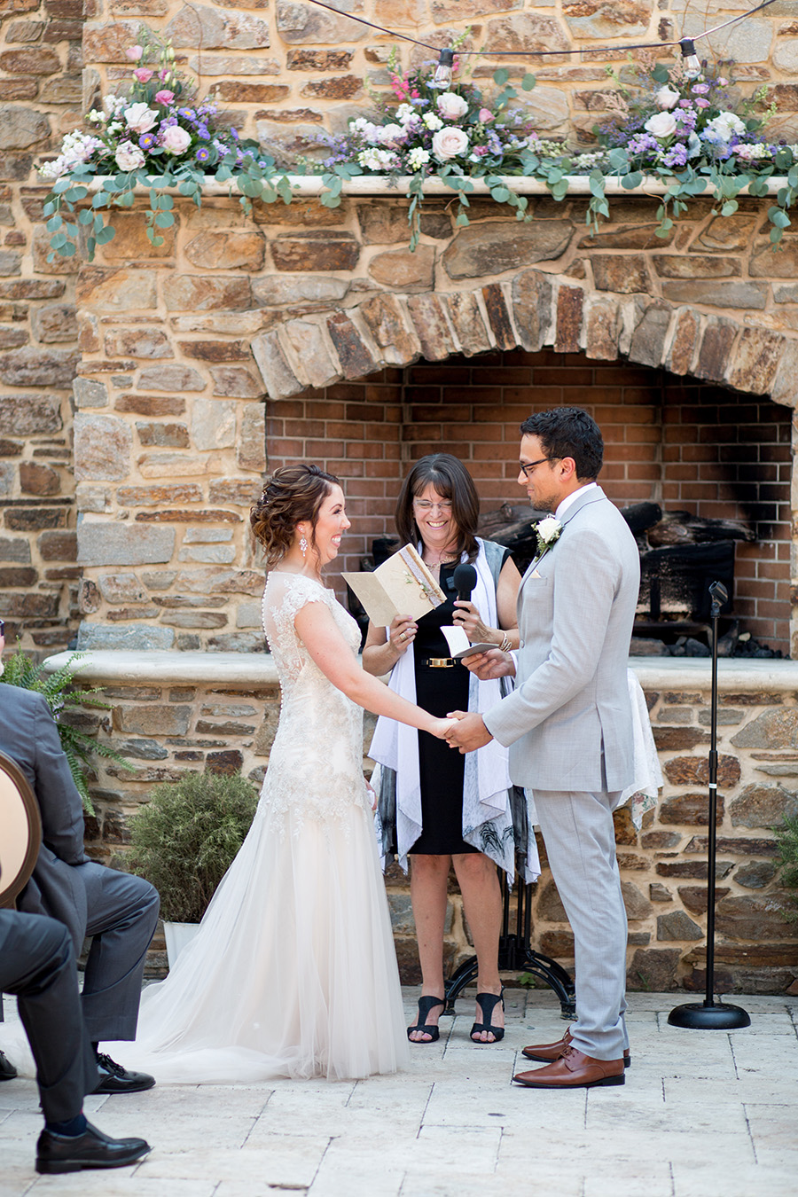 wedding ceremony in outside courtyard at the madison in riverside