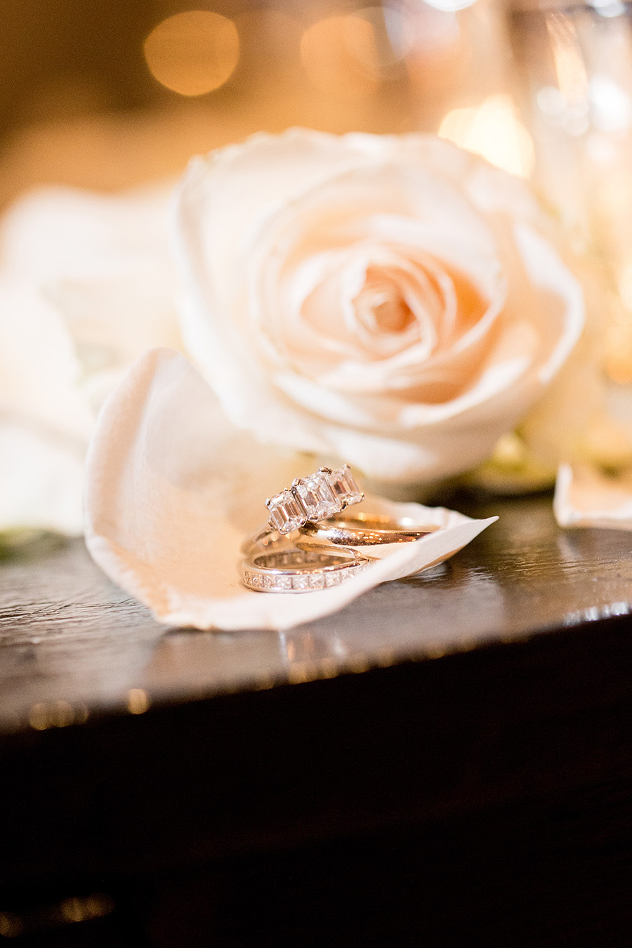 bride and groom rings in front of white roses
