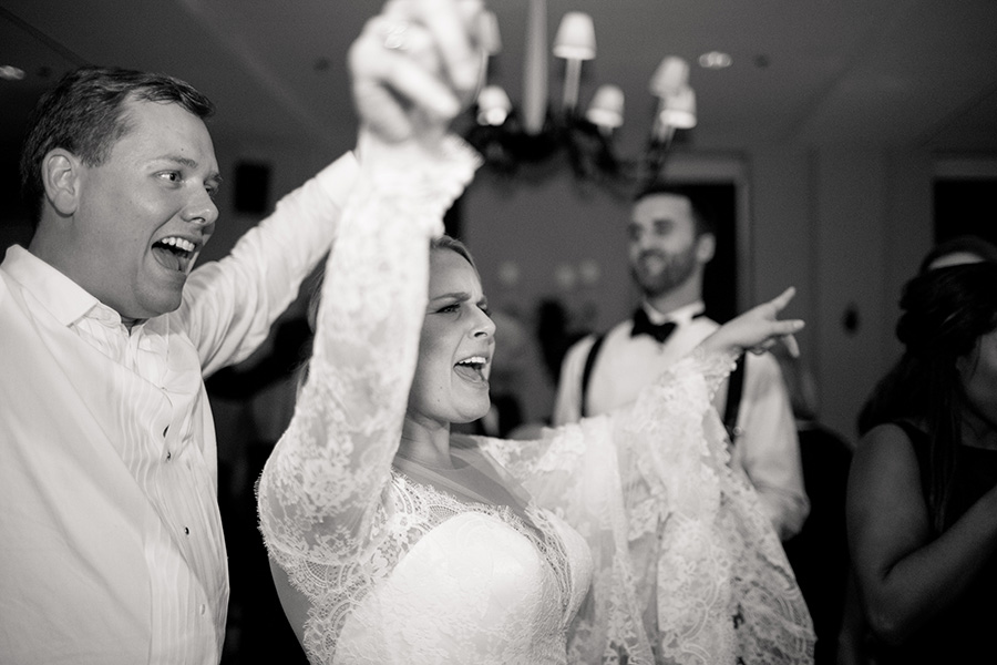 bride and groom hit the dance floor