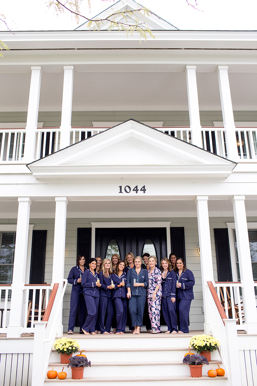 bridal party in matching pajamas