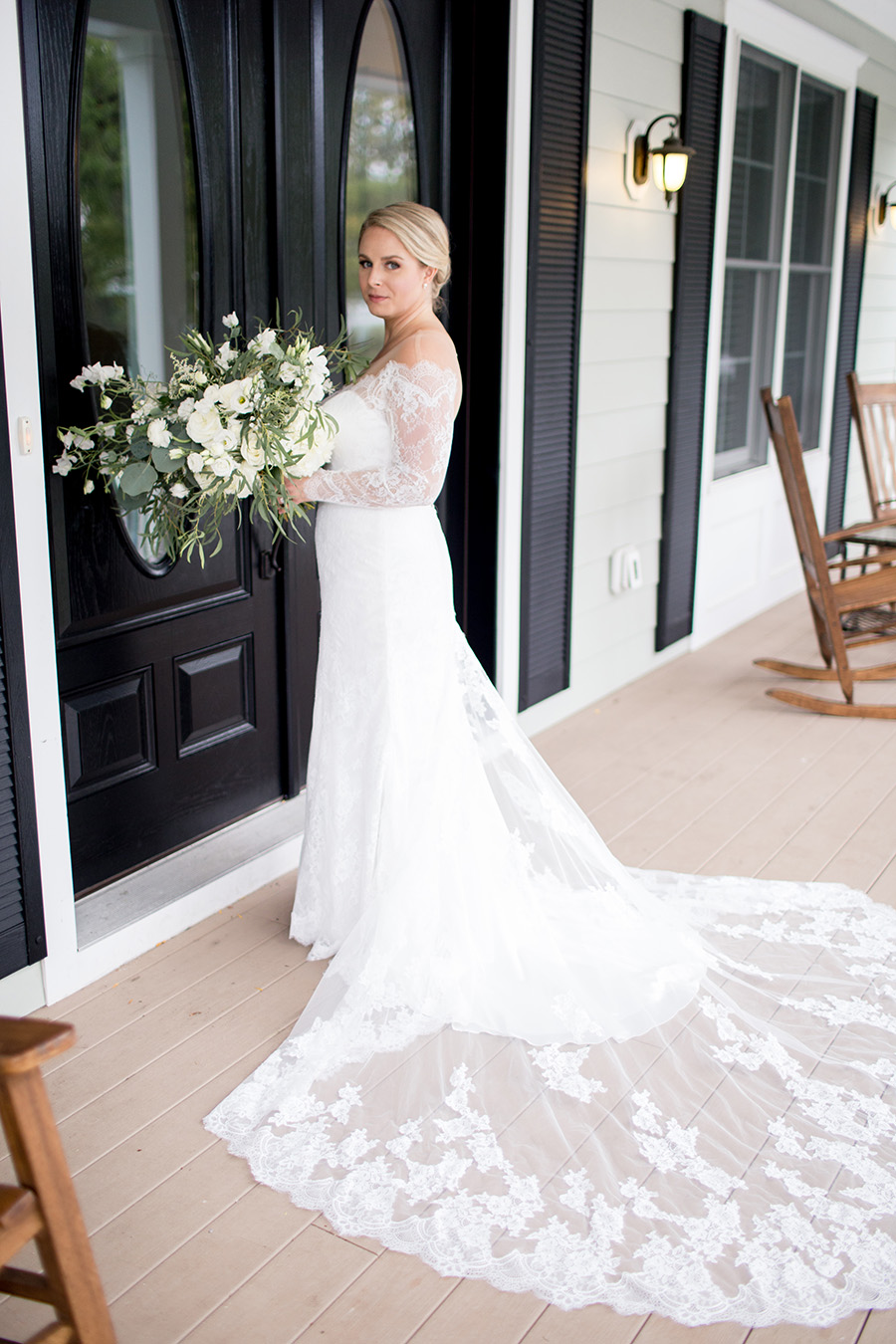 bridal gown with a lacy train
