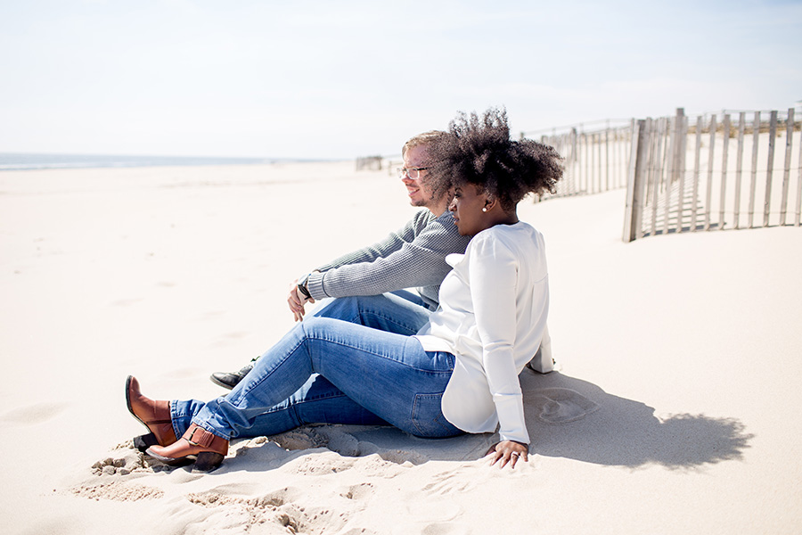 relaxing during an engagement session in LBI