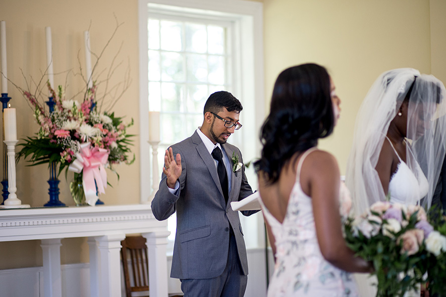 pastor gives homily at wedding ceremony