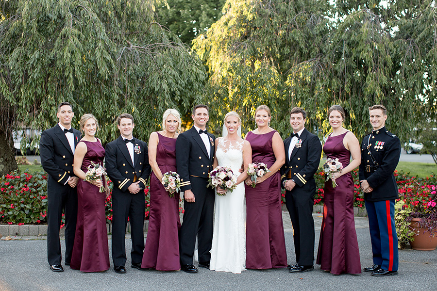wedding party portraits outside dupont country club
