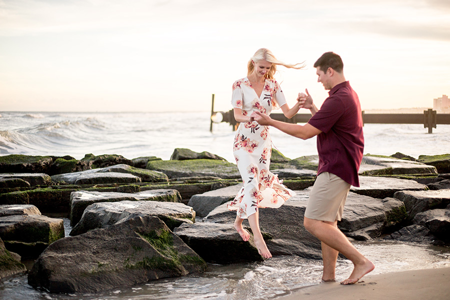 engagement session near the jetty in ocean city