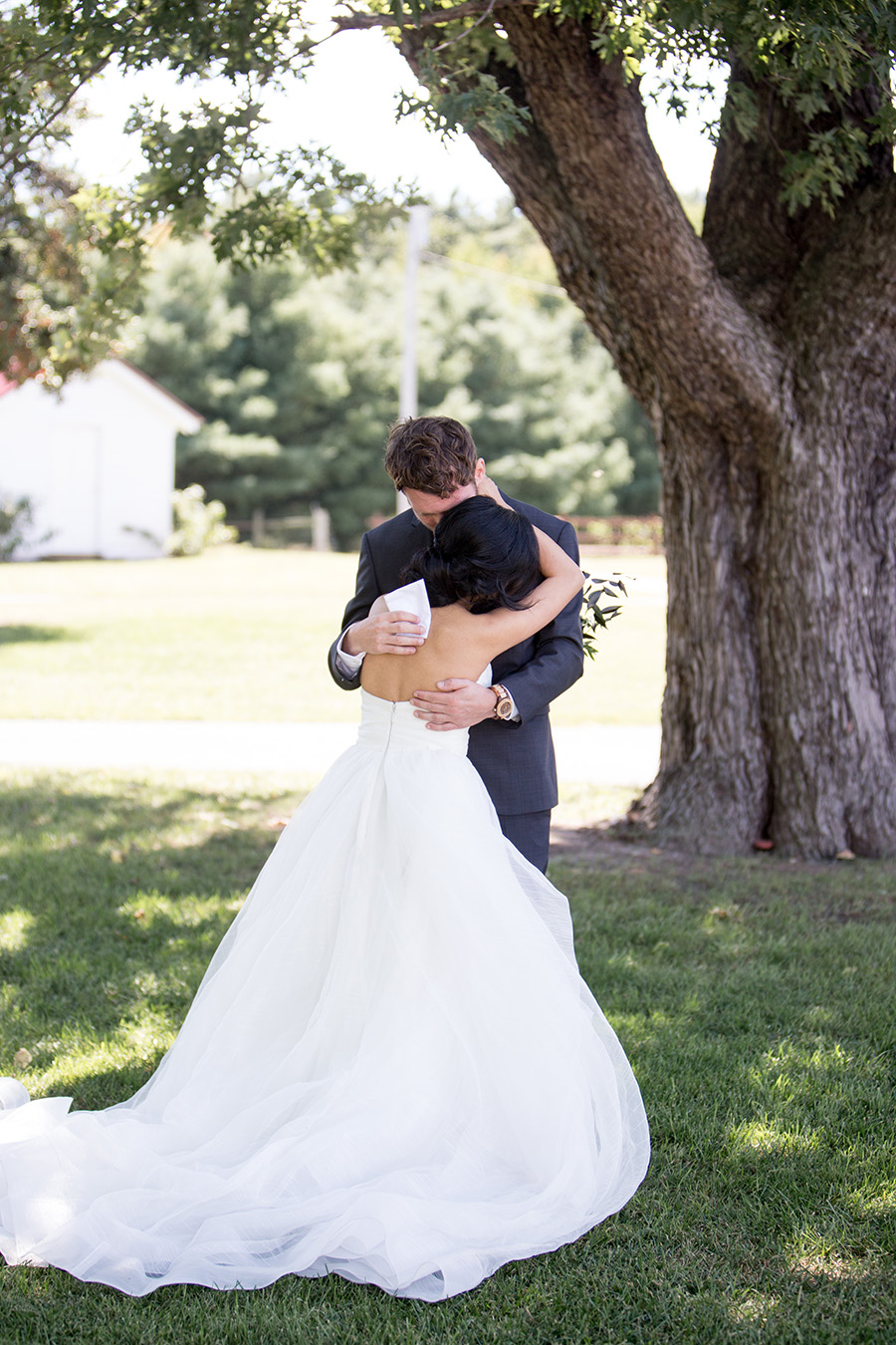 emotional first look between the bride and groom at eagle manor