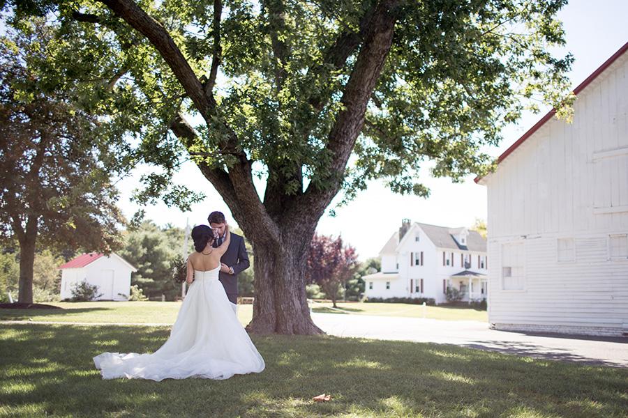 wedding portraits near the barn at eagle manor