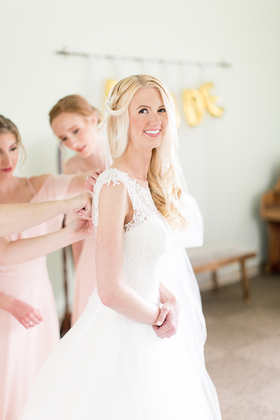 bride getting ready at her church
