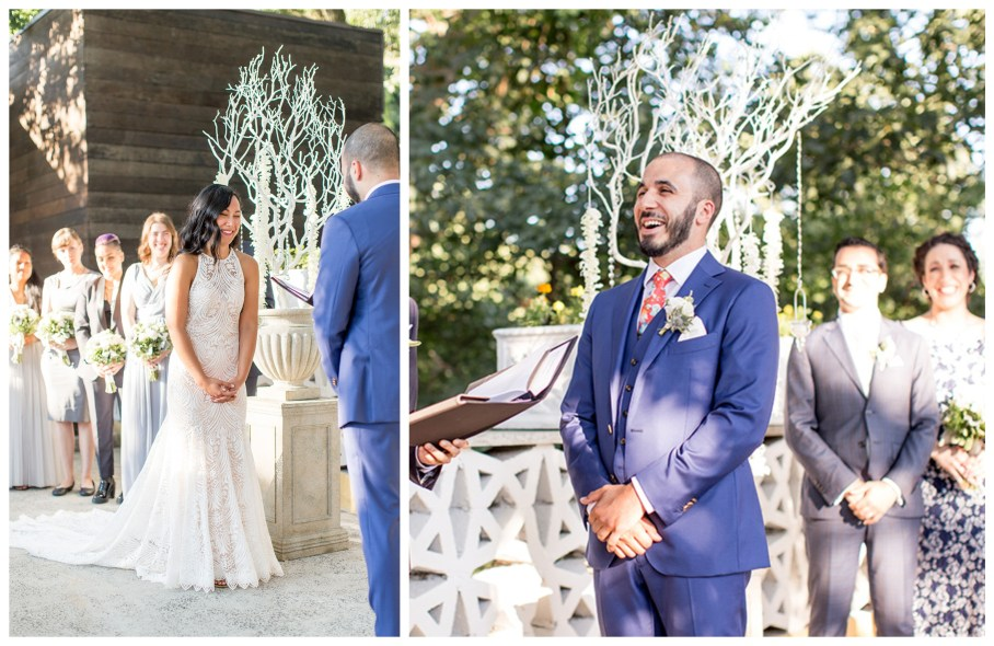 bride and groom laugh together at the altar