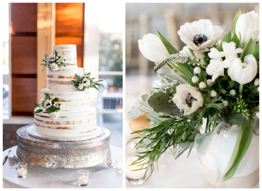white naked wedding cake with white flowers