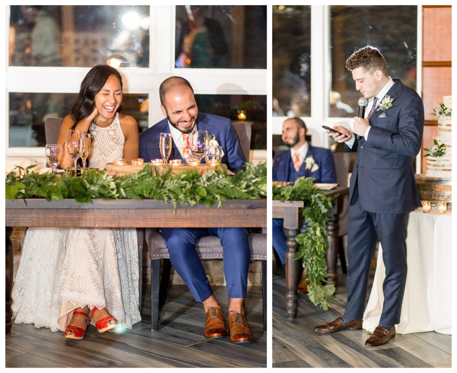 man of honor gives wedding toast