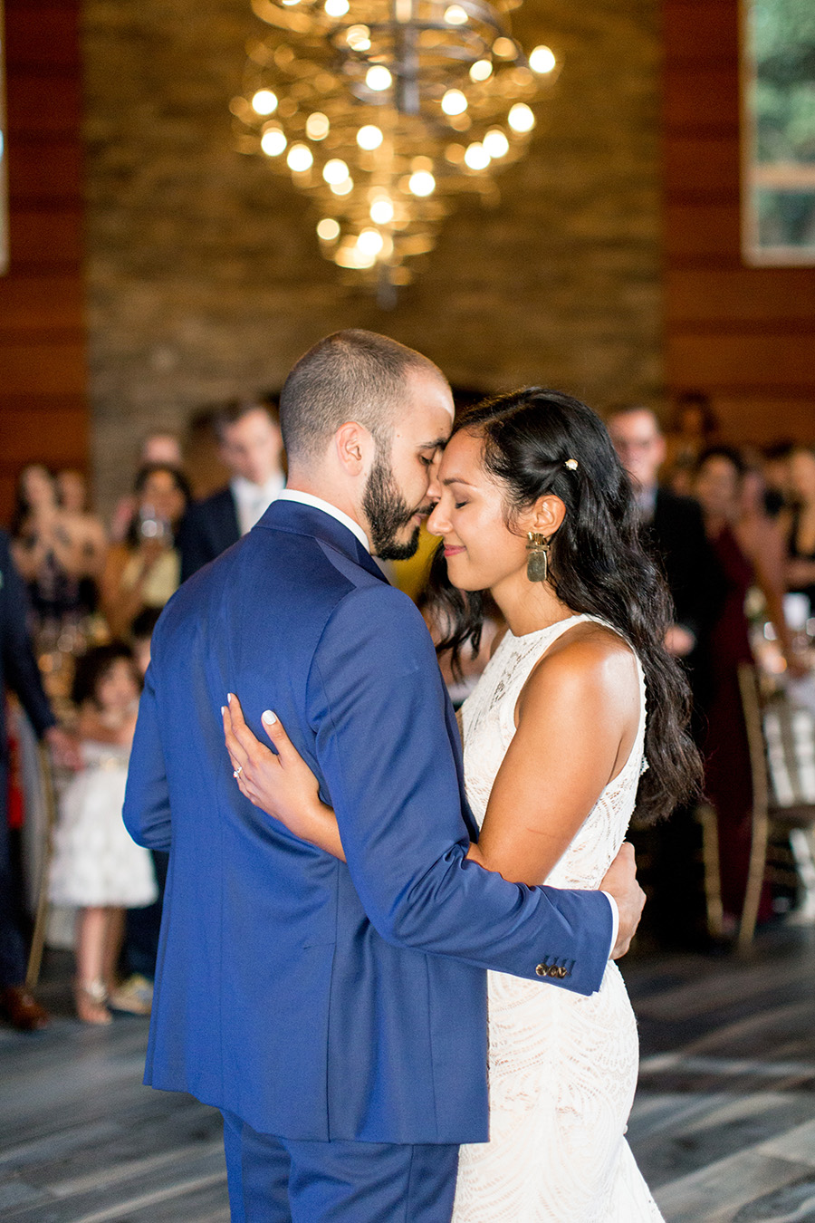 bride and groom's first dance at stone house at stirling ridge