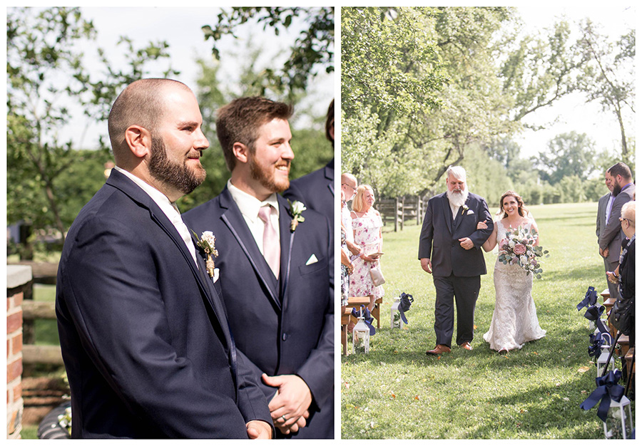groom watches his bride come down the aisle at apple orchard