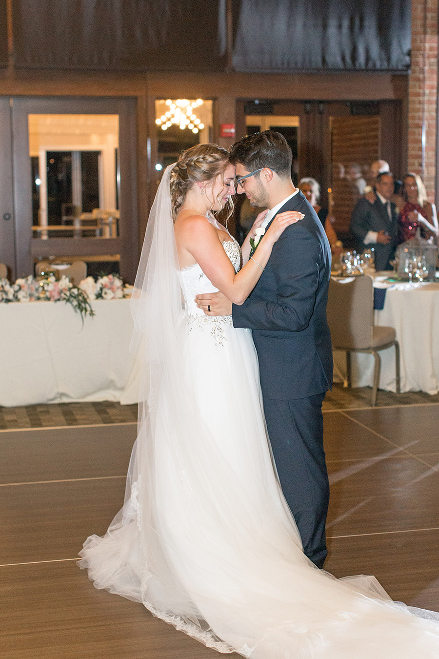 bride and groom share first dance at chubb hotel