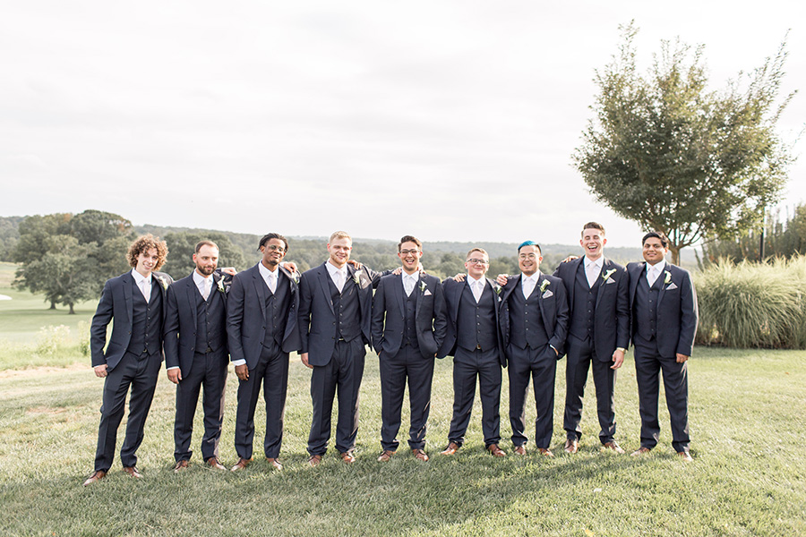 groom and groomsmen outside of chubb hotel and conference center