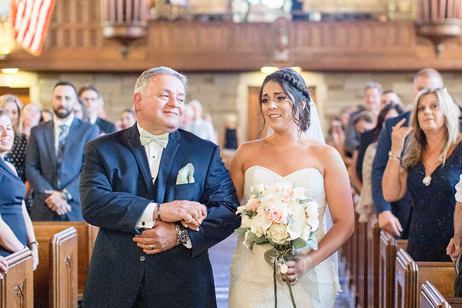 emotional wedding day moment at penn oaks golf club