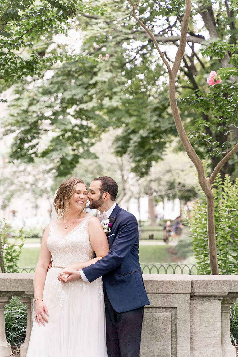 bride and groom get wedding day pictures at rittenhouse square