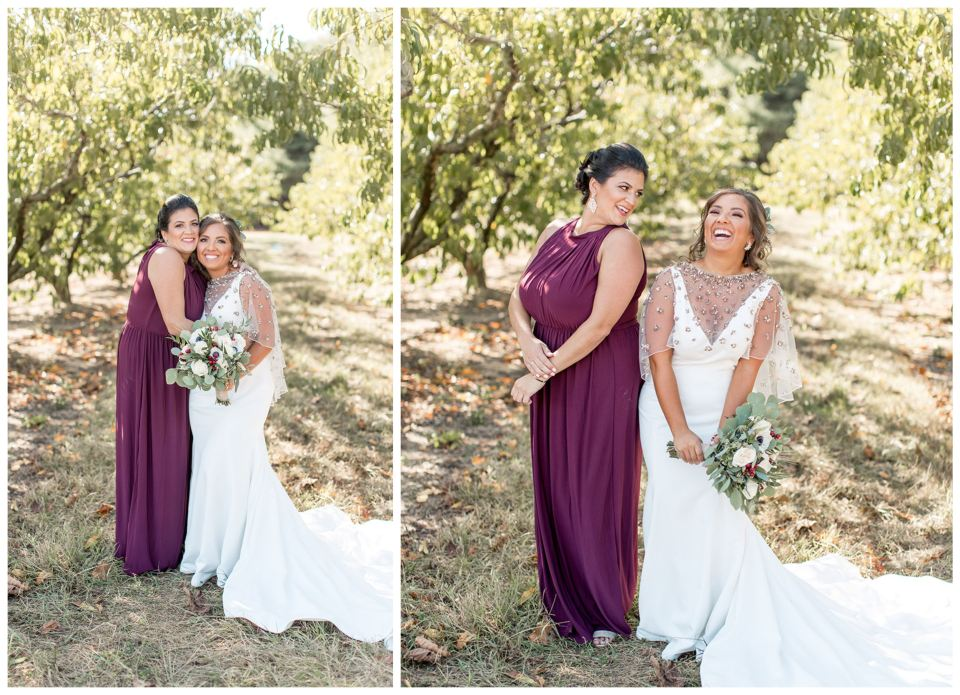 Maid of honor and bride pose for portraits
