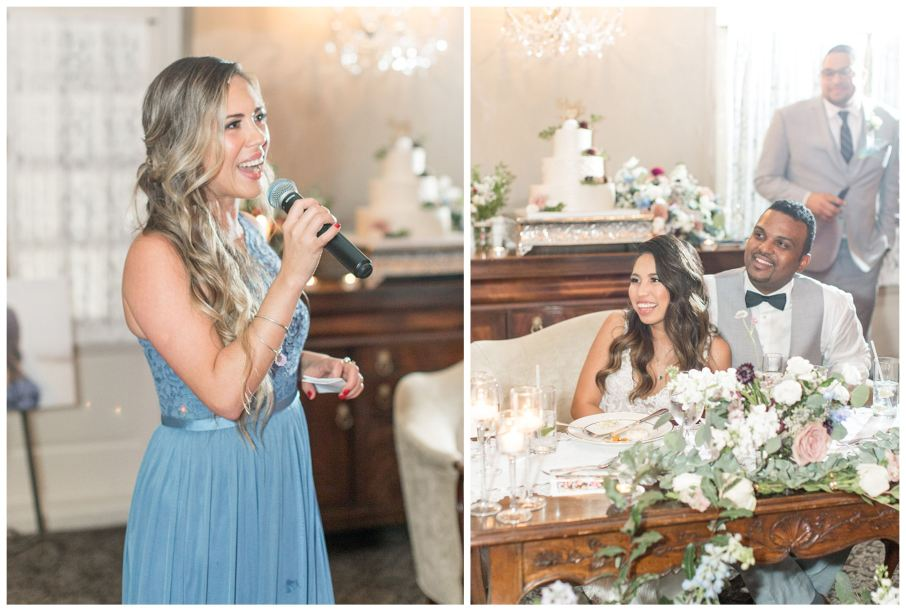 Maid of honor gives a wedding toast