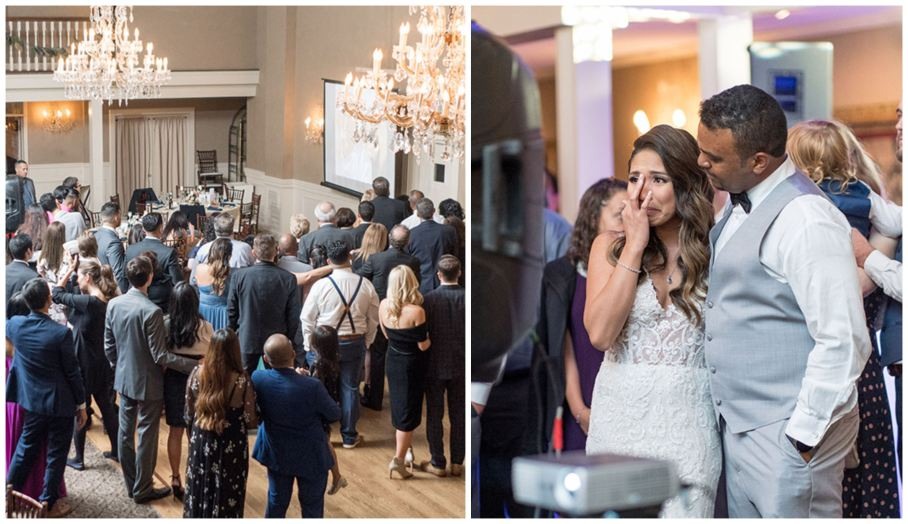 Emotional memorial slideshow at wedding reception