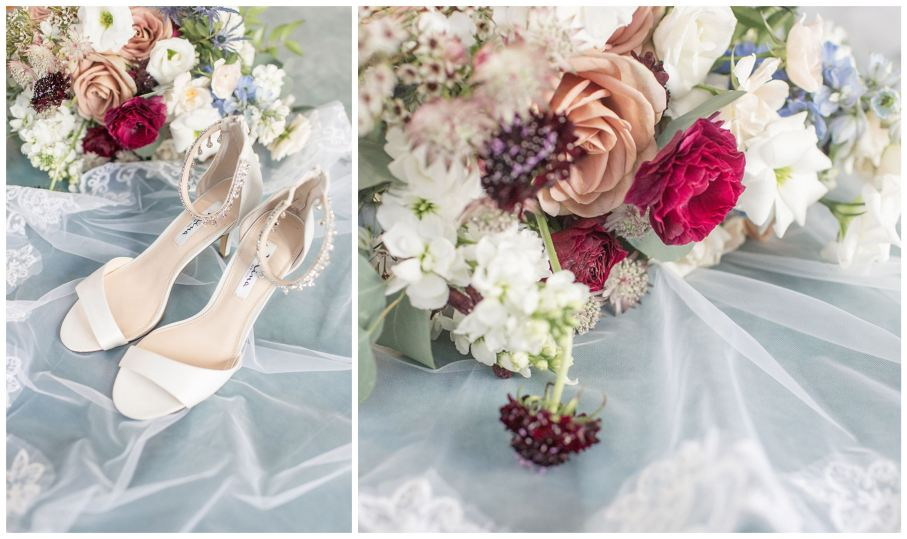 Bride's bouquet and heels at David's Country Inn