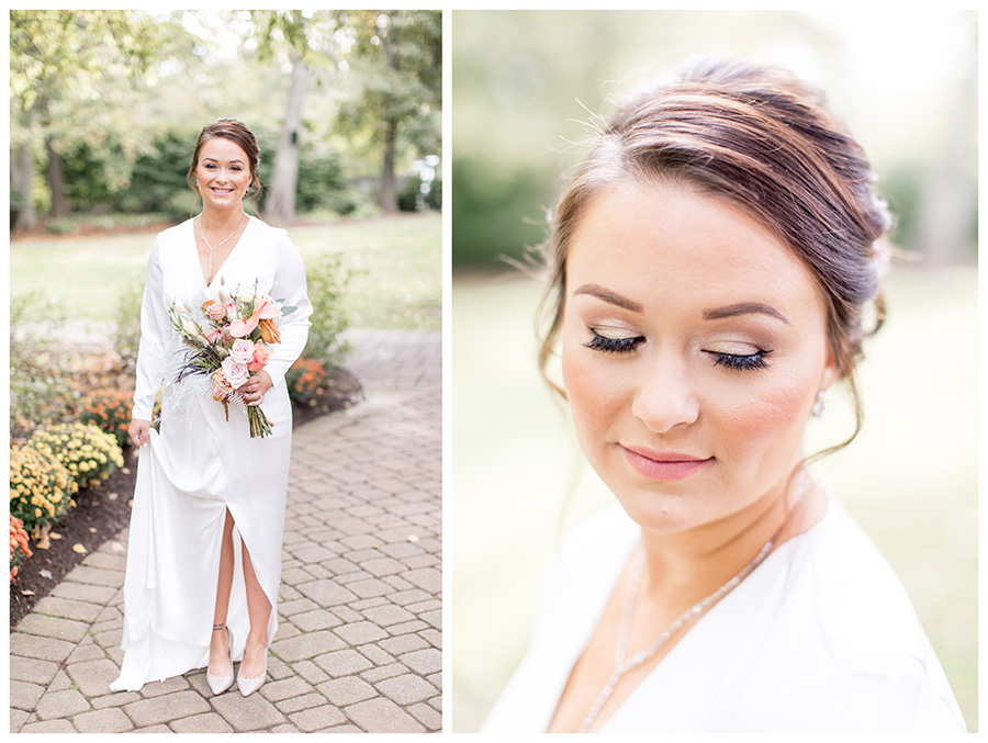 Bride's neutral wedding day makeup