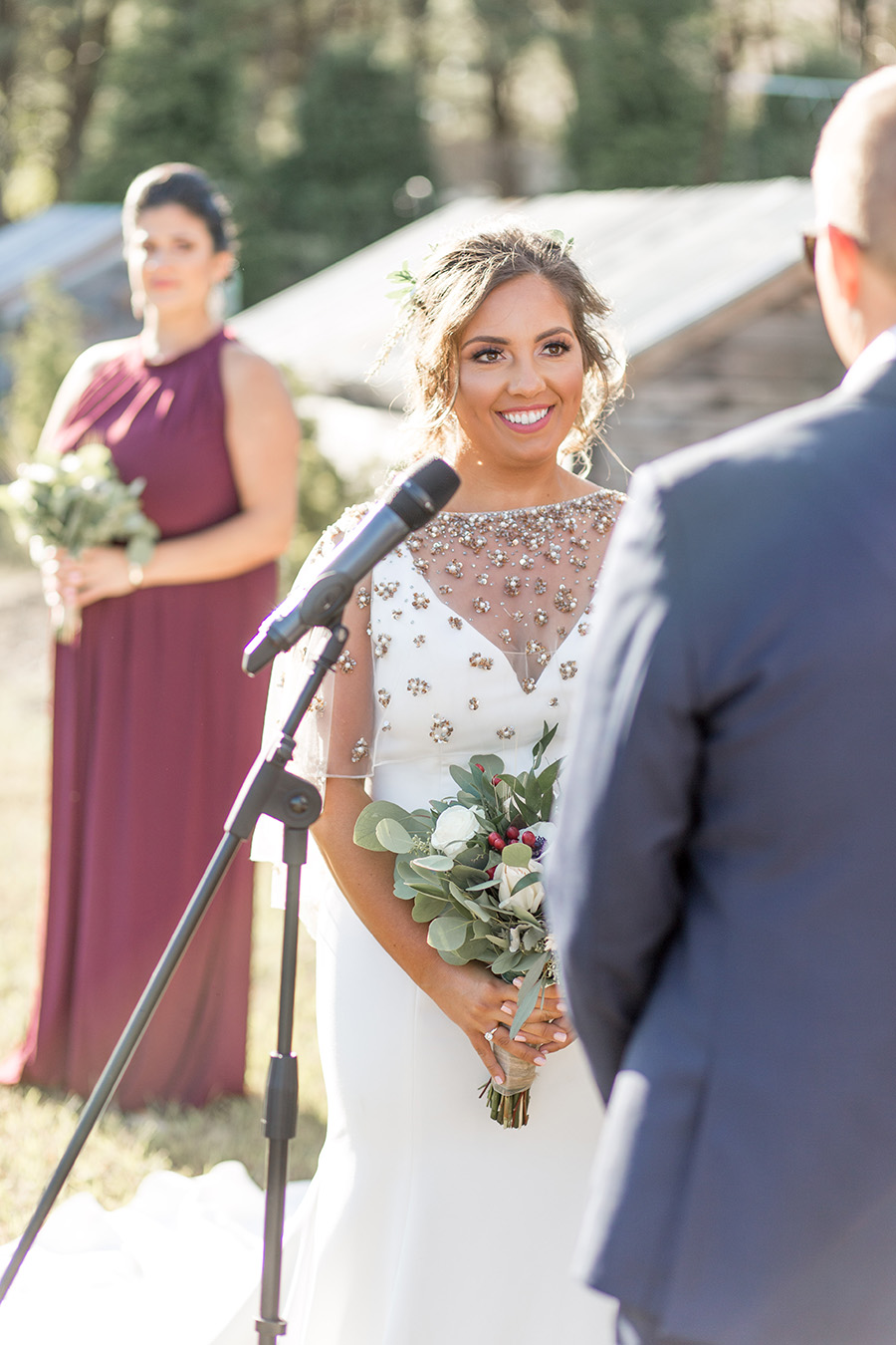 Wedding couple exchanges vows at Bast Brothers