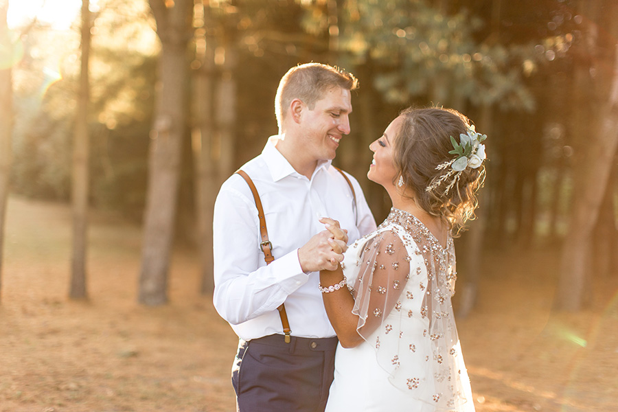 Golden hour moments on their wedding day at Bast Brothers