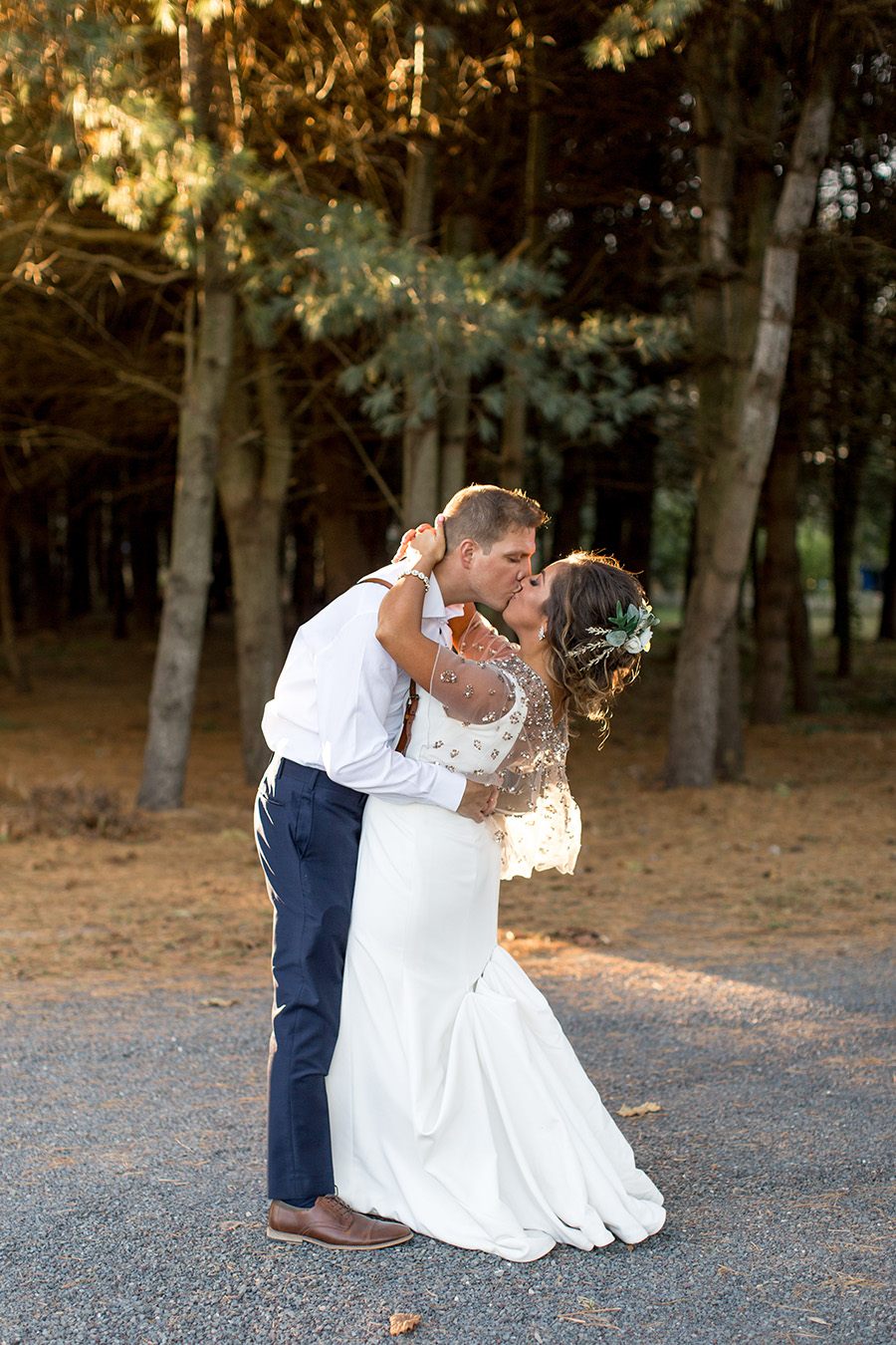Last kiss on the wedding day