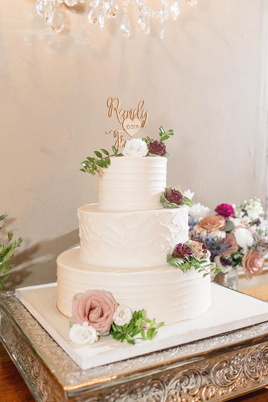 Burgundy and blush wedding cake