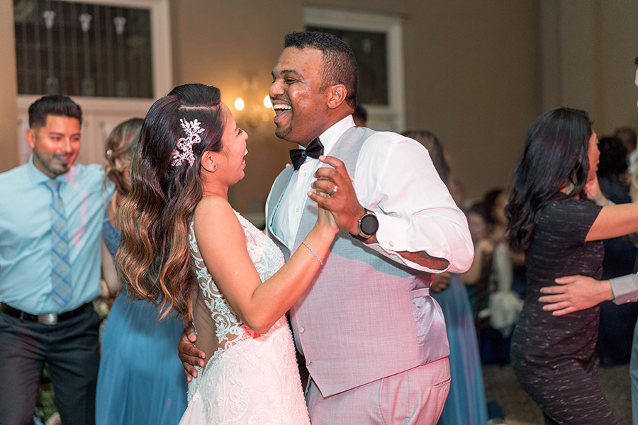 Bride and groom dancing at their wedding recpetion