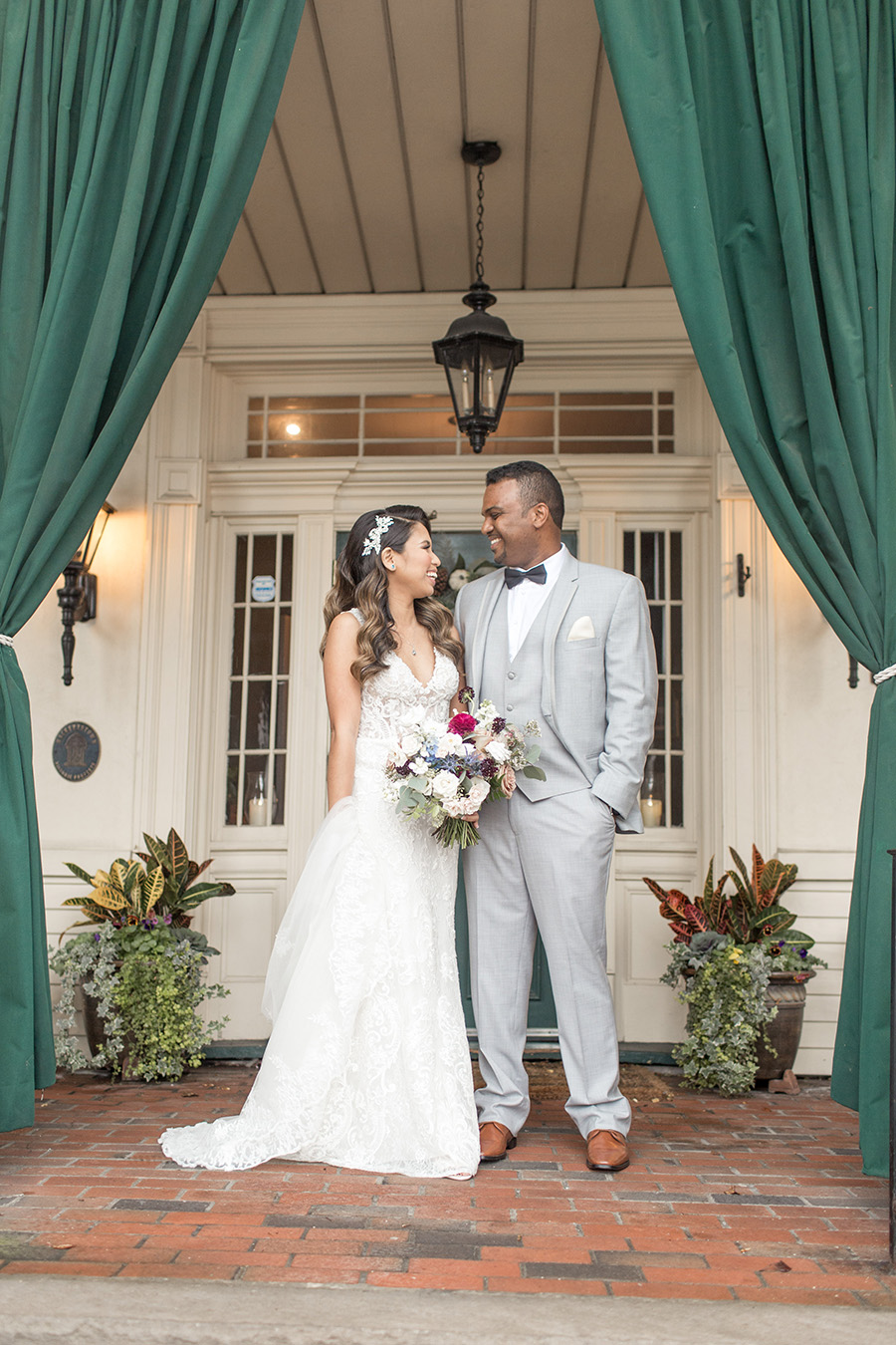 Wedding day portraits on the porch at David's Country Inn