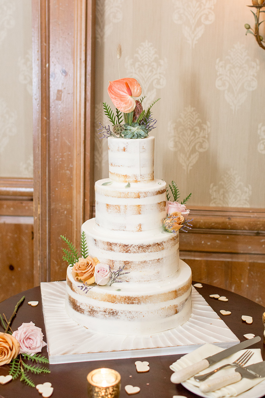Naked rustic fall wedding cake