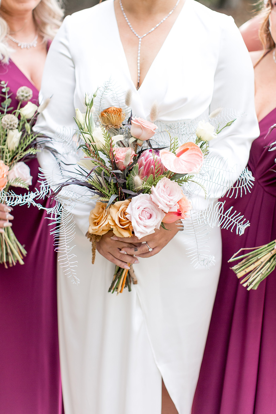 Protea fall wedding bouquets at olde mill inn