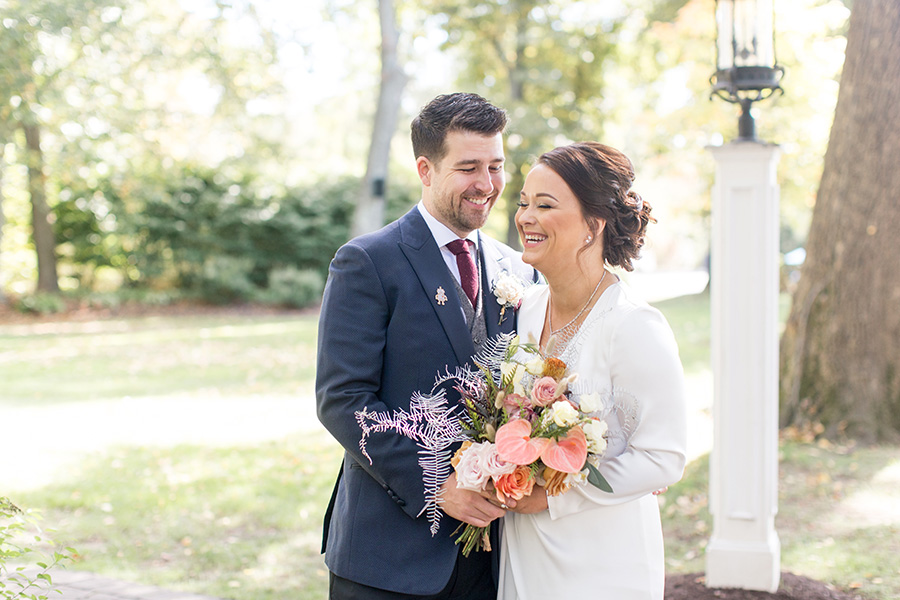 Natural light portraits with the bride and groom