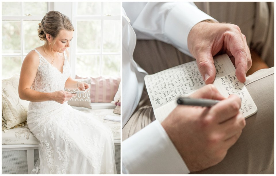 bride and groom writing your own wedding vows