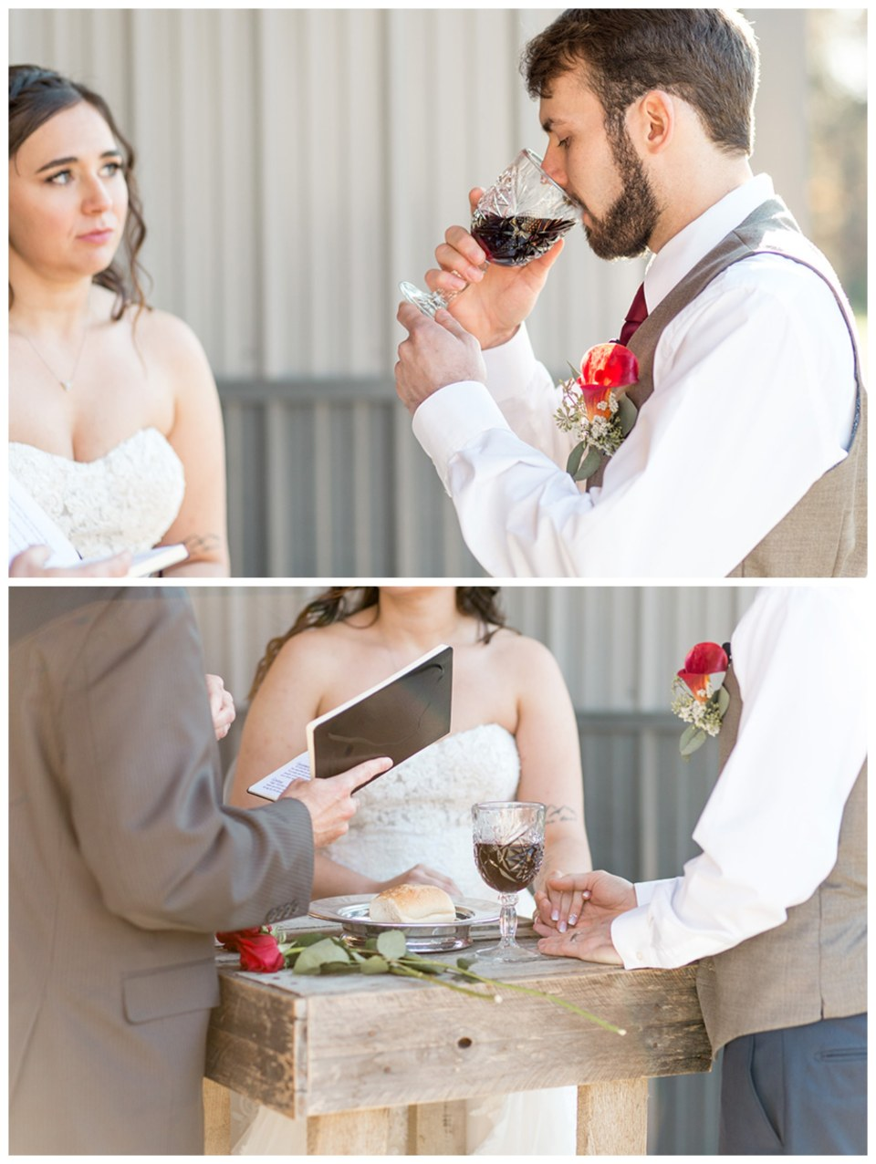 communion as husband and wife during wedding ceremony at Turkey Trac farms