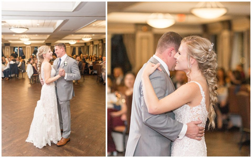 bride and groom share their wedding dance in the ballroom at Scotland Run
